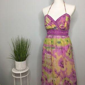 Trendy Mix It Beaded Halter Silk Dress Sz 10